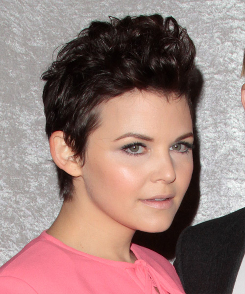 Ginnifer Goodwin Short Wavy Alternative   Hairstyle   - Medium Brunette (Chocolate) - Side View