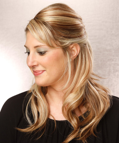 Long Straight Casual   Half Up Hairstyle with Side Swept Bangs  -  Blonde Hair Color with Light Blonde Highlights - Side View