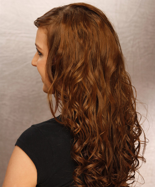 Long Curly    Brunette   Hairstyle with Side Swept Bangs  - Side View