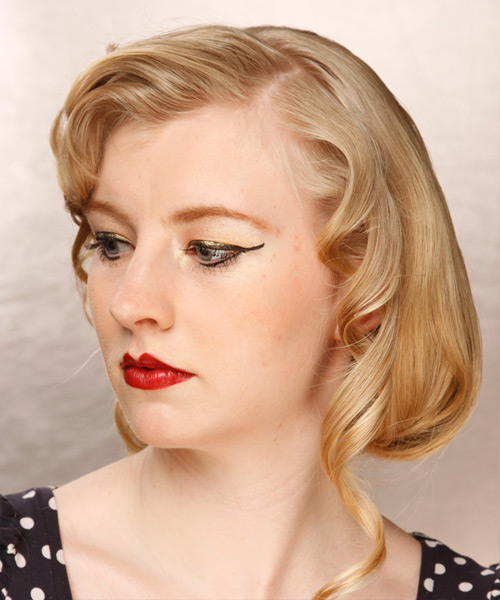 Medium Wavy Formal Wedding  Hairstyle with Side Swept Bangs  - Medium Blonde (Champagne) - Side View