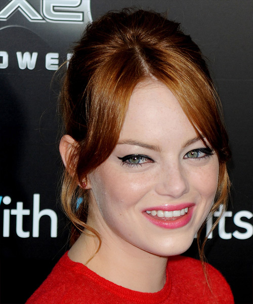 Emma Stone  Long Straight Formal   Updo Hairstyle with Layered Bangs  -  Copper Red Hair Color - Side View