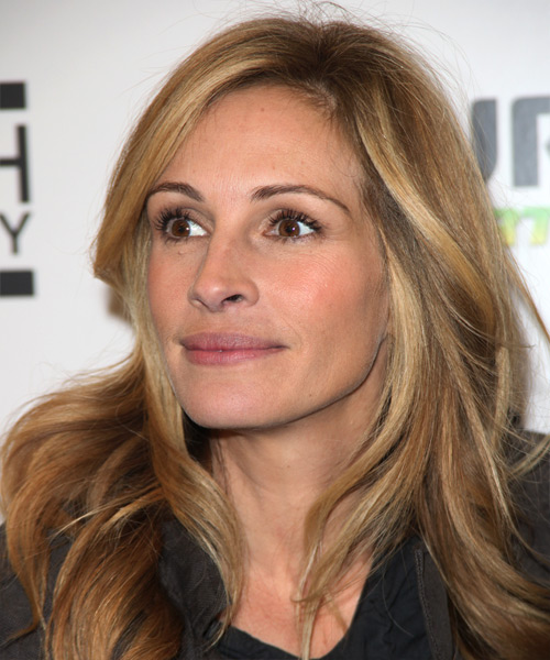 Julia Roberts Long Wavy Casual    Hairstyle   -  Blonde Hair Color with Light Blonde Highlights - Side View