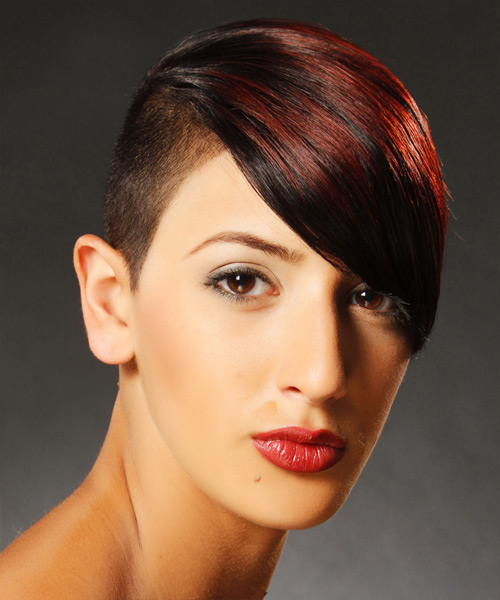 Short Straight Alternative  Undercut  Hairstyle with Side Swept Bangs  - Dark Red Hair Color with Dark Red Highlights - Side View