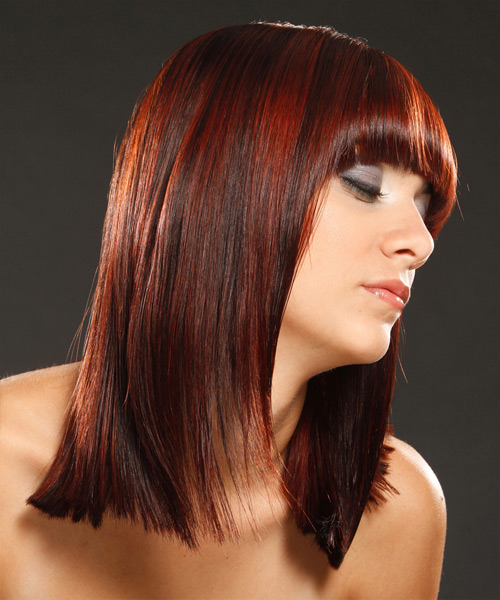 Medium Straight Dark Red Hairstyle with Blunt Cut Bangs and Dark Red Highlights