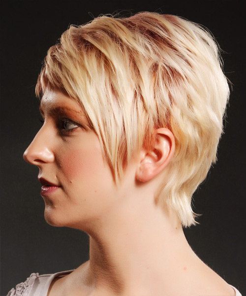 Short Straight Casual    Hairstyle with Side Swept Bangs  - Light Strawberry Blonde and Light Red Two-Tone Hair Color - Side View