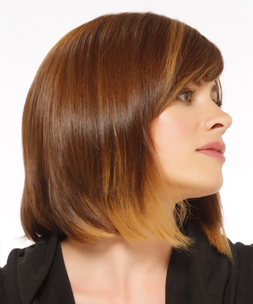 Medium Straight   Light Caramel Brunette Bob  Haircut   with  Blonde Highlights - Side View