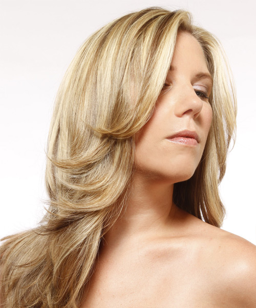 Long Straight Formal    Hairstyle   - Light Champagne Blonde Hair Color with Light Blonde Highlights - Side View