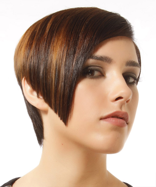 Short Straight Formal  Asymmetrical  Hairstyle   -  Brunette Hair Color with Light Brunette Highlights - Side View