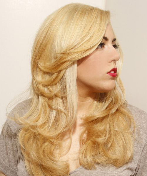 Long Straight Formal   Hairstyle   - Light Blonde - Side View