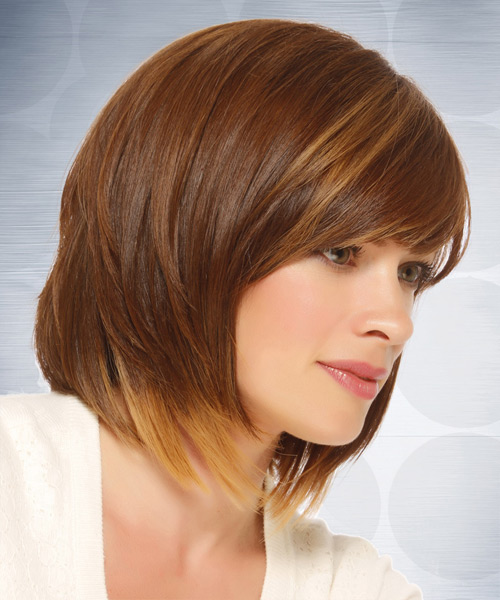 Medium Straight Casual  Bob  Hairstyle with Side Swept Bangs  - Light Caramel Brunette Hair Color with  Blonde Highlights - Side View