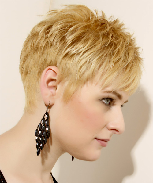 Short Straight Casual    Hairstyle   - Light Golden Blonde Hair Color with Light Blonde Highlights - Side View