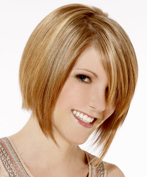 Medium Straight Layered   Golden Blonde Bob  Haircut   with Light Blonde Highlights - Side View
