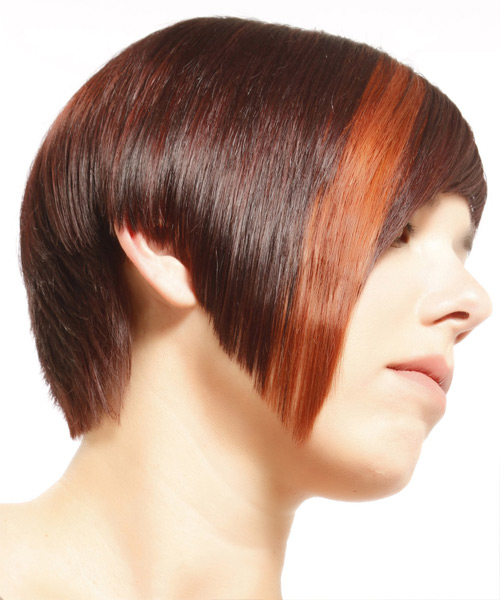 Short Straight Alternative  Asymmetrical  Hairstyle with Razor Cut Bangs  - Medium Burgundy Red Hair Color with Orange Highlights - Side View
