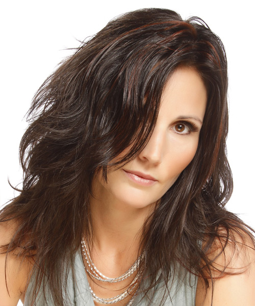 Long Straight Casual    Hairstyle   - Dark Brunette Hair Color with  Red Highlights - Side View