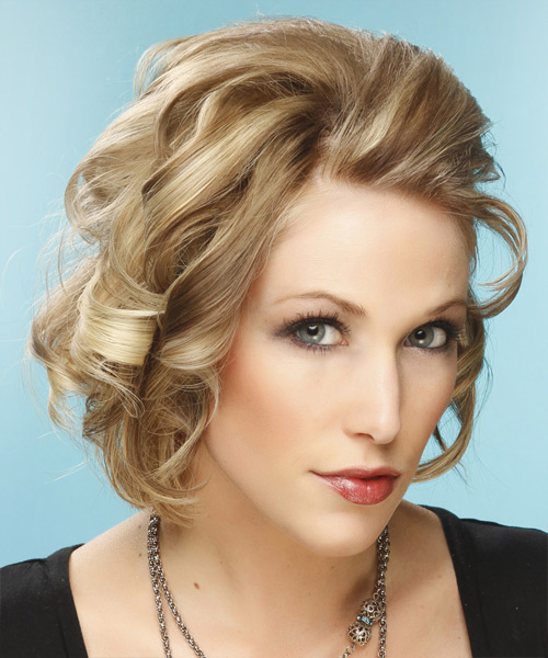 Short Curly Formal    Hairstyle   -  Champagne Blonde Hair Color with Light Blonde Highlights - Side View