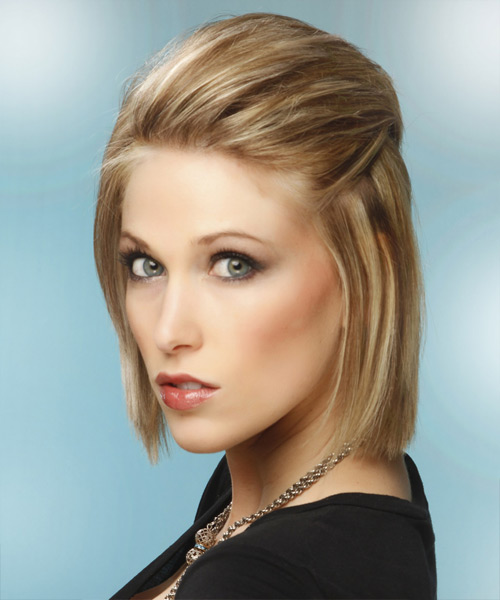 Medium Straight Formal    Hairstyle   -  Champagne Blonde Hair Color with Light Blonde Highlights - Side View