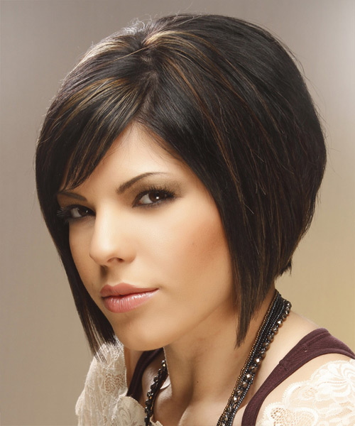 Medium Straight Formal  Bob  Hairstyle with Side Swept Bangs  - Black Caramel  Hair Color with  Brunette Highlights - Side View