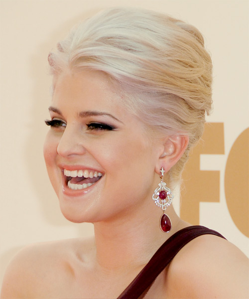 Kelly Osbourne  Long Straight Formal   Updo Hairstyle   - Light Blonde Hair Color - Side View