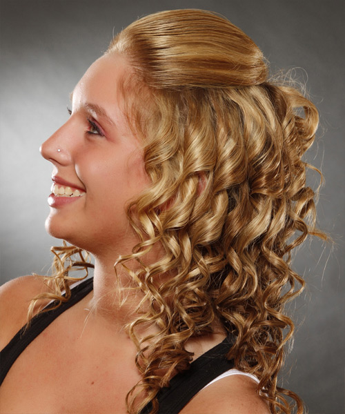 Long Curly Casual   Half Up Hairstyle   -  Ginger Blonde Hair Color with Light Blonde Highlights - Side View