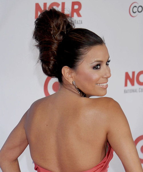 Eva Longoria Parker Updo Long Curly Formal Wedding Updo Hairstyle   - Dark Brunette (Auburn) - Side View