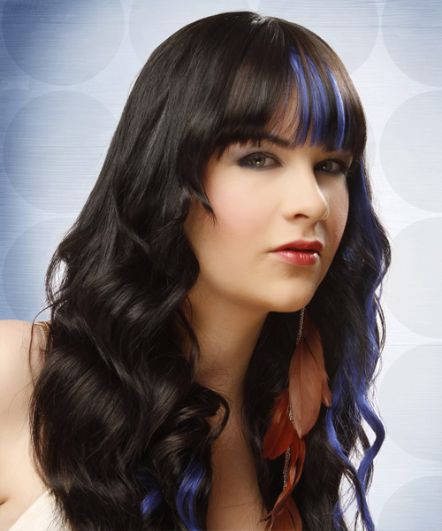 Long Wavy Formal   Hairstyle with Blunt Cut Bangs  - Black - Side View