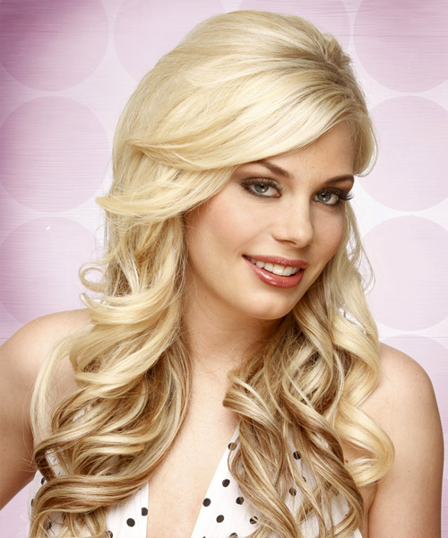 Long Wavy Retro Waves with Side Swept Bangs - Light Champagne Blonde Hair Color with Light Blonde Highlights