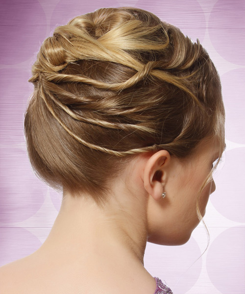 Long Curly   Light Caramel Brunette  Updo    with  Blonde Highlights - Side View
