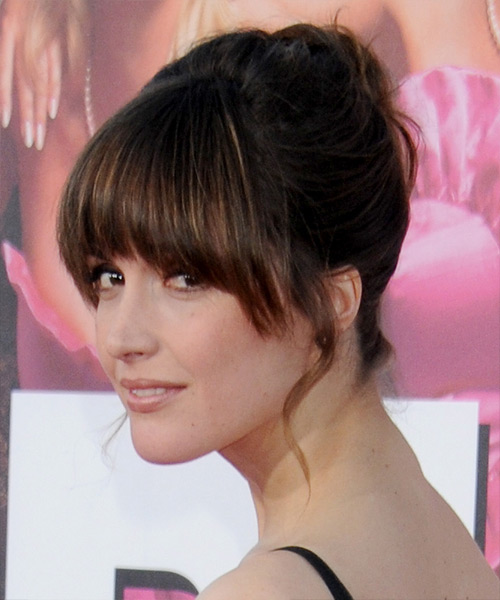 Rose Byrne  Long Straight Formal   Updo Hairstyle with Blunt Cut Bangs  - Dark Brunette Hair Color - Side View
