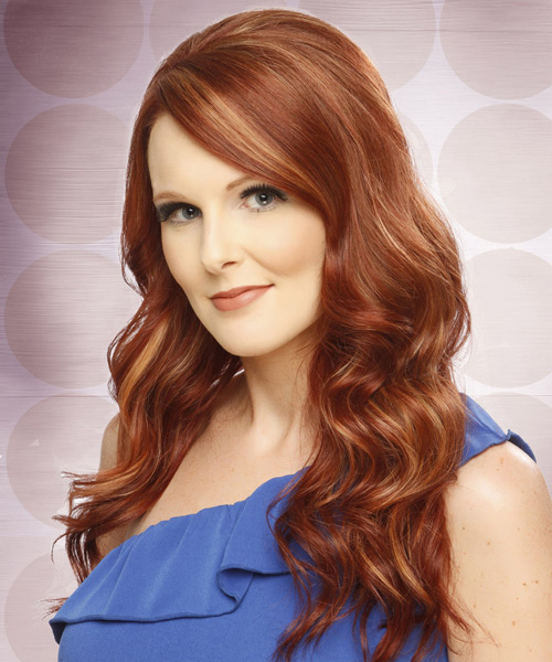 Long Wavy Formal    Hairstyle with Side Swept Bangs  -  Copper Red Hair Color with  Blonde Highlights - Side View