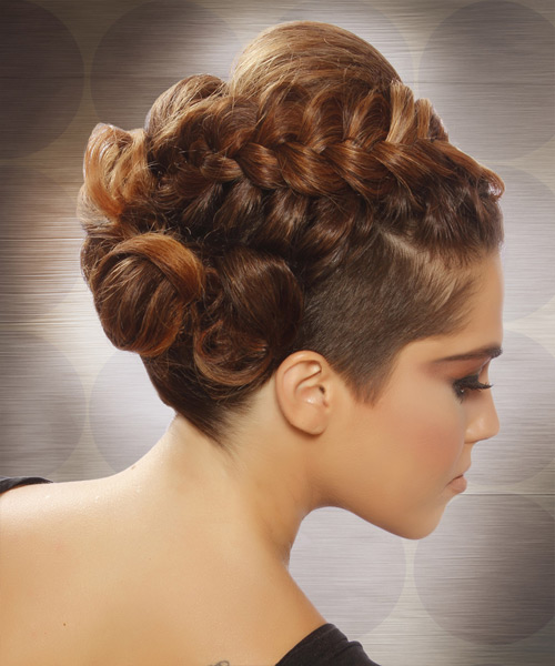 Long Curly    Caramel Brunette Braided Updo    - Side View