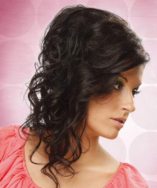 Long Curly Formal   Updo Hairstyle   - Dark Mocha Brunette Hair Color - Side View