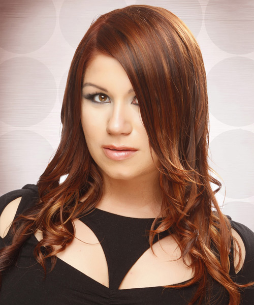 Long Wavy    Copper Red   Hairstyle   with  Red Highlights - Side View