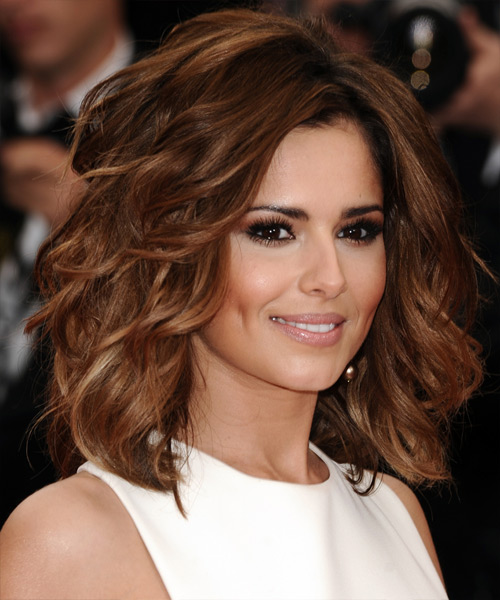 Cheryl Cole Medium Wavy    Auburn Brunette   Hairstyle   with Dark Blonde Highlights - Side View