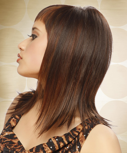 Long Straight Alternative   Hairstyle with Asymmetrical Bangs  - Medium Brunette (Chocolate) - Side View