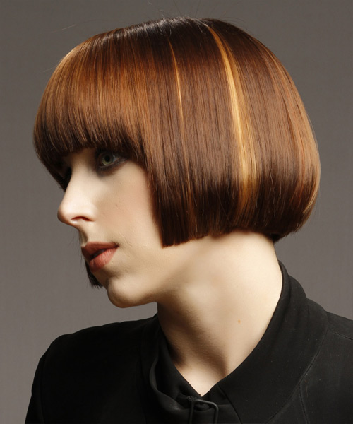 Short Straight    Copper Brunette   Hairstyle with Blunt Cut Bangs  and Dark Blonde Highlights - Side View