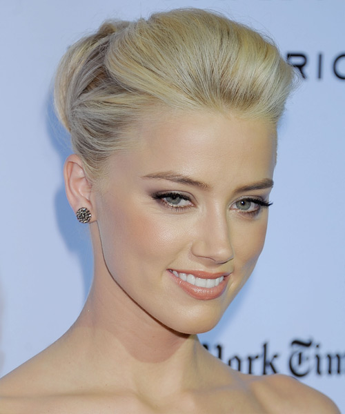 Amber Heard Updo Long Straight Formal Wedding Updo Hairstyle   - Light Blonde - Side View