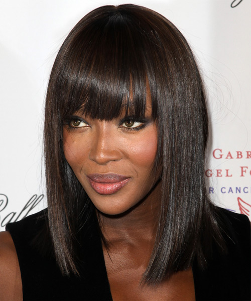 Naomi Campbell Medium Straight Formal Bob  Hairstyle with Blunt Cut Bangs  - Dark Brunette - Side View