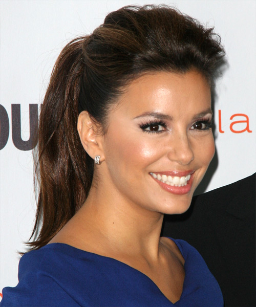 Eva Longoria Parker  Long Straight   Dark Brunette  Updo    - Side View