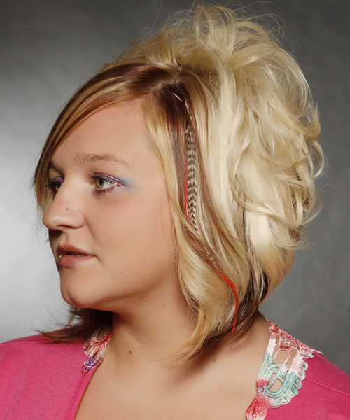 Medium Wavy   Light Blonde   Hairstyle with Side Swept Bangs  and  Brunette Highlights - Side View