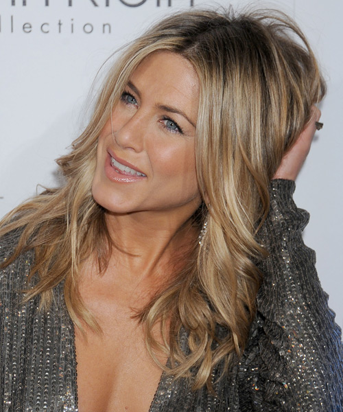 Jennifer Aniston Long Wavy Casual    Hairstyle   - Dark Champagne Blonde Hair Color with Light Blonde Highlights - Side View
