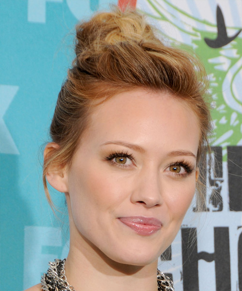 Hilary Duff Long Curly Casual Updo Hairstyle Dark Copper