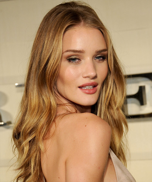 Rosie Huntington-Whiteley Long Wavy   Dark Caramel Blonde   Hairstyle   with Light Blonde Highlights - Side View