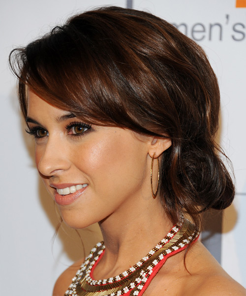 Lacey Chabert  Long Straight   Dark Brunette  Updo  with Side Swept Bangs  and  Brunette Highlights - Side View