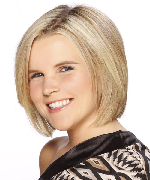 Short Straight Formal Layered Bob  Hairstyle   - Light Blonde Hair Color with Dark Blonde Highlights - Side View