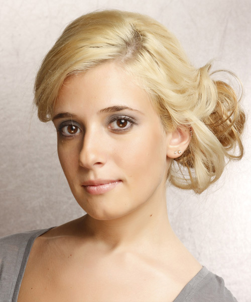 Updo Long Straight Casual  Updo Hairstyle   - Light Blonde (Golden) - Side View