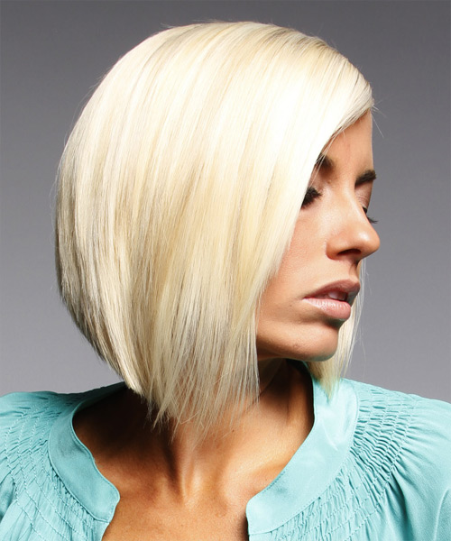 Medium Straight Layered  Light Platinum Blonde Bob  Haircut   - Side View