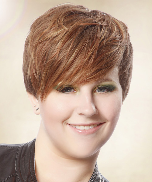Short Straight Casual    Hairstyle with Side Swept Bangs  - Light Auburn Brunette Hair Color with Light Red Highlights - Side View