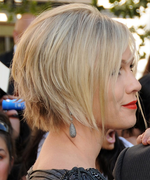 Jennie Garth Short Straight Layered  Light Blonde Bob  Haircut with Side Swept Bangs  and  Blonde Highlights - Side View