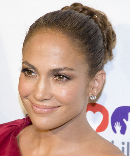 Jennifer Lopez  Long Curly Formal  Braided Updo Hairstyle   - Light Brunette Hair Color - Side View