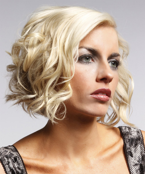 Short Wavy Formal Layered Bob  Hairstyle   - Platinum Hair Color with  Blonde Highlights - Side View